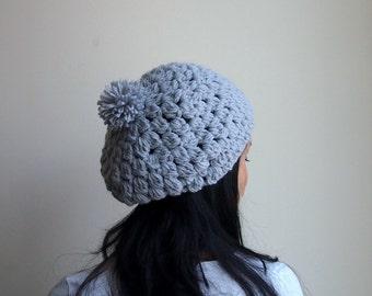 Crochet pattern, bulky hat, slouchy boble hat,  pom pom hat, crochet beret, DIY tutorial, Instant download