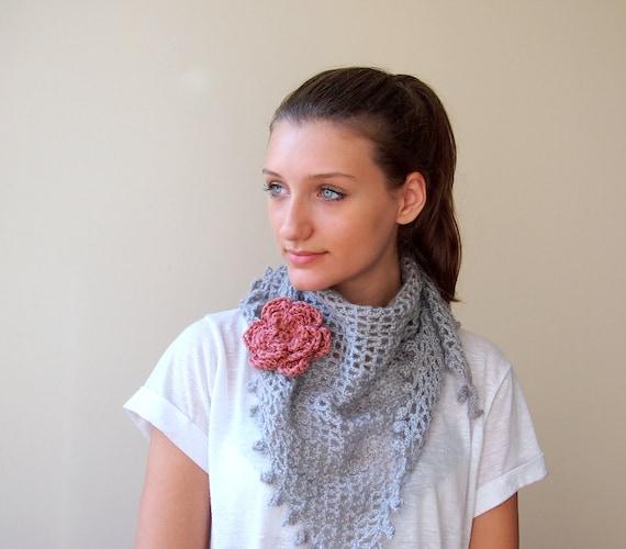 Lace  crochet shawl, soft silver grey triangle scarf with detachable flower, powder pink ,3D flower brooch