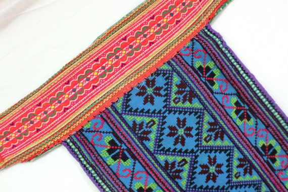 Vintage Hmong Tribal Textile Embroidered Cotton Fabric.  Purple, Deep Aqua, Neon Pink / Summer Fashion / Upcycling Supplies