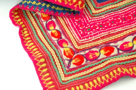 Vintage Hmong Tribal Textile Embroidered Cotton Fabric / Neon Pink, Orange, Yellow and Blue / Summer Fashion / Upcycling Supplies