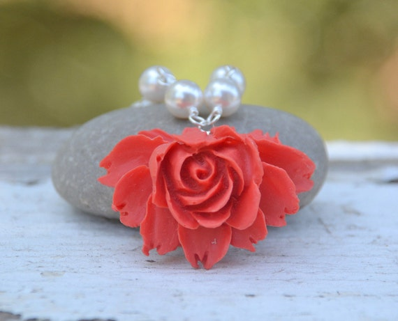 HUGE SALE Red Cabbage Rose and White Swarovski Pearl Bridesmaid Necklace