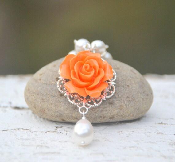 Orange Bridesmaid Necklace.  Orange Rose White Swarovski Pearl Teardrop Bridesmaid Necklace. Orange Wedding Jewelry.