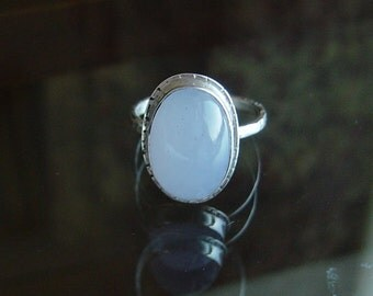 Blue Chalcedony and Sterling Ring, READY to Ship Size 7