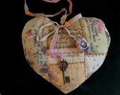 Large Hand Quilted Lavender Heart Sachet w/Text