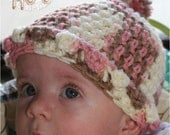 Baby Hat, Baby Girl, Crochet Baby Hat, Baby Hat, 3 to 6 months, Photo Prop, Pink, Brown, Tan, Neapolitan,Sweetness In Smyrna