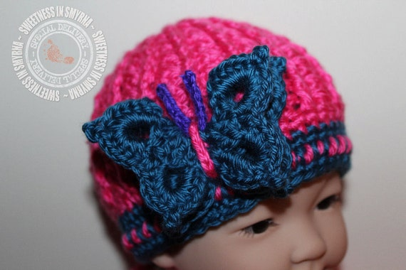 Baby Girl Hat - Butterfly Hat - Blue - Hot Pink - Cloche - 0 to 3 months - Photo Prop - READY TO SHIP