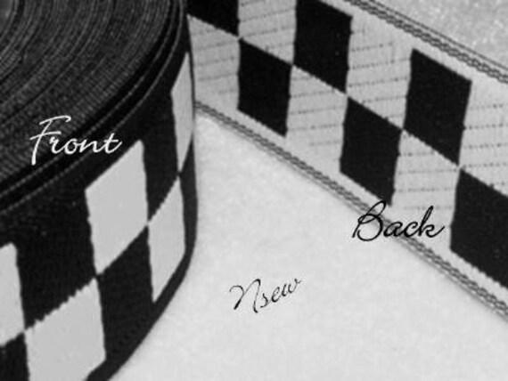 5 yards Nascar Checkered Flag Jacquard Trim - Race Car Motorcycle Dirt Bikes