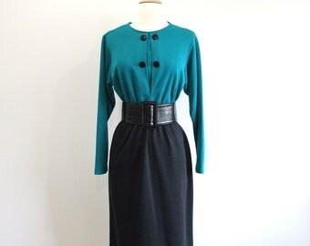 Vintage Colorblock Dress Long Sleeve Wiggle Dress - S