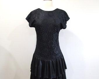 Little Black Dress Vintage 80s Lace Party Dress LBD - S