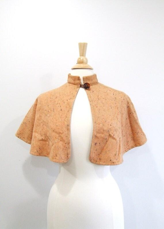 Vintage Wool Capelet 1960s Peach Cape