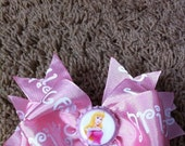 Sleeping beauty Princess Aurora Hair bow Pink disney princess hair bow on a clip