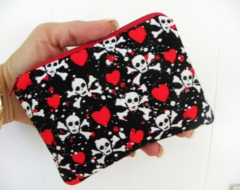 Skulls and Roses Small zipper coin/accessory pouch