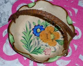 Darling ceramic flower basket with wicker handle
