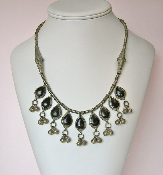 Vintage Kuchi Black Enamel Tear Drop Necklace