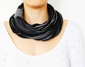 SCARF // FREE SHIPPING //   Infinity Eternity Scarf Noodle Scarves Cotton Fashion Neckwarmer Circle Necklace Chunky Cowl Grey Gray Black - Sudrishta