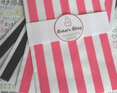 Hot Pink and Black Striped Candy Bags for Candy Bars, Party Treats and Gifts (100 count)