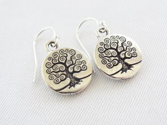 silver earrings tree of life sterling silver wires