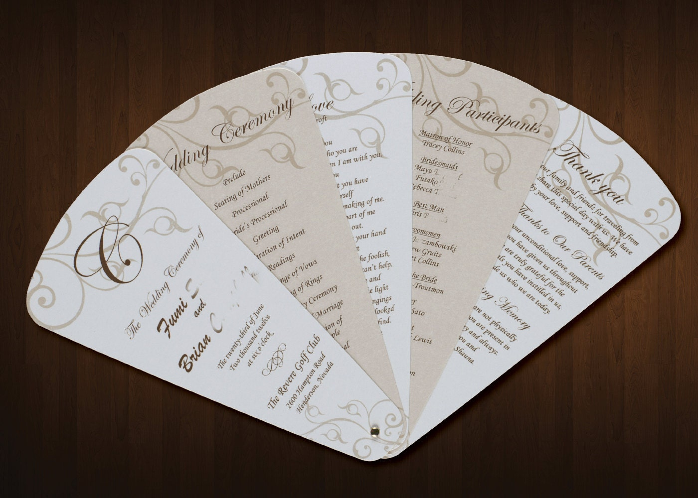 fan wedding programs templates