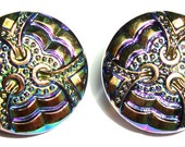 Pair of  Vintage Black Czech Glass 18mm Buttons with Carnival Luster/Iridescent Luster