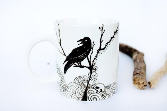 Mug The Raven - Ceramic Cup handpainted