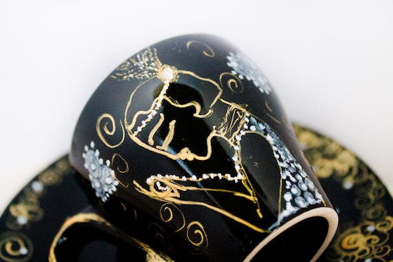 Edwardian lady - black gold espresso cup - painted