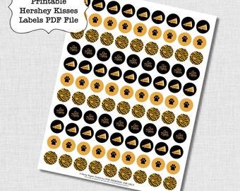 Tiger Spirit Kisses Sticker Label Collage Sheet - Gold Tiger Print - Tiger Paw Cheerleader - PDF File
