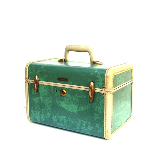 Vintage Train Case Green Tan Shwayder Mid century Luggage