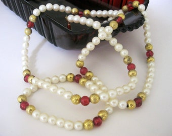 Vintage Faux Pearl & Cranberry Glass Necklace