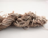 Silk thread ribbon embroidery Chocolate Brown and Beige Hand Dyed Variegated