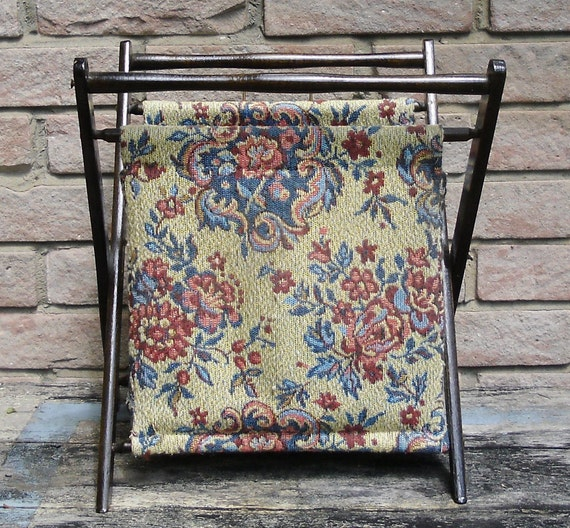Vintage Tapestry And Wood Sewing Knitting Basket Folding