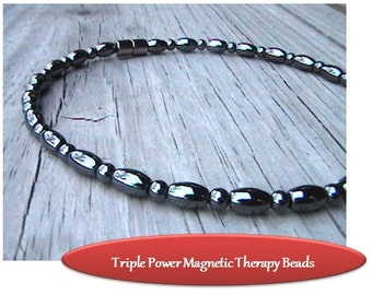 Magnetic Anklet/Bracelet || Custom Sized || Pain Relief || Magnetic Hematite || RareEarth Magnetic Clasp || Health FREE Gift Tag Bag Token