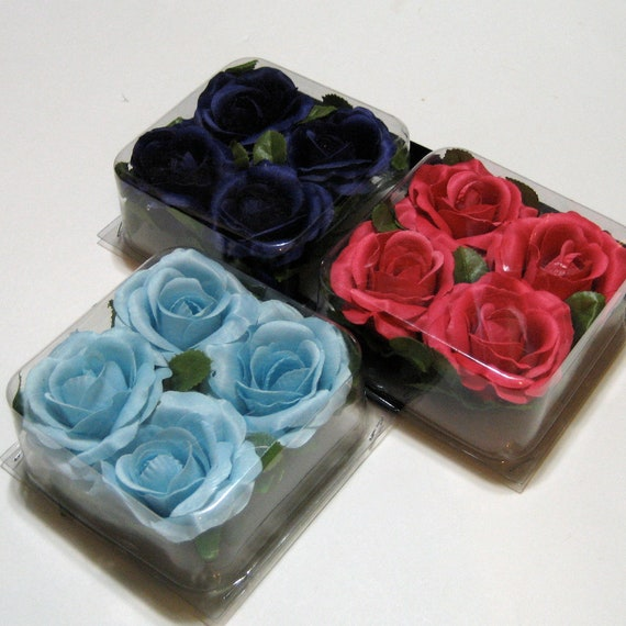 Silk Flowers - Roses - Light Blue - Dark Pink - Dark Purple - Rose Heads - Three Packages