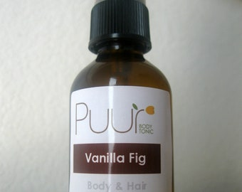 Alcohol Free Body Spray - Vanilla Fig Body Splash - Hair and Body Spritz - 2oz Fragrance Spray Spicy Scent Paraben Free Perfume
