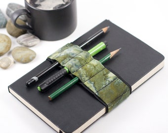 Journal Bandolier // moss // (a better pencil case, journal pen holder, book strap, pen loop, pencil roll, pen bandolier)
