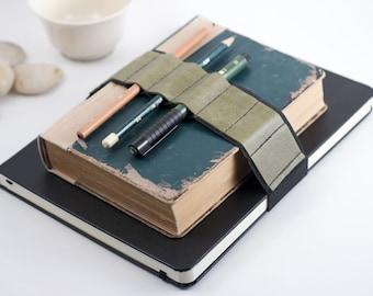 Journal Bandolier Large // olive leather // (a better pencil case, journal pen holder, book strap, pen loop, pencil roll, pen bandolier)