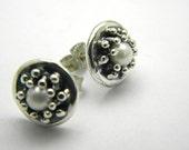 Sterling silver pearl earrings studs - post earrings - wedding  jewelry -handmade oxidized jewelry, granulation , stud earrings Sale 10% off