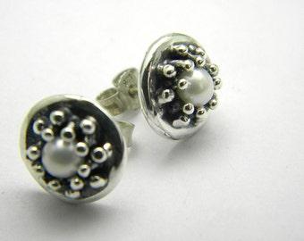 Sterling silver pearl earrings studs - post earrings - wedding  jewelry -handmade oxidized jewelry,granulation ,Sale 10% off