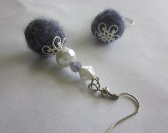 CLEARANCE Dusky Violet Earrings, Purple Hand Felted Focal Bead, Mixed Media, Silver, White Glass Pearls