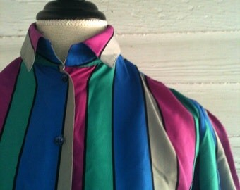 on sale: Vintage Blouse - 1980s STRIPED Shirt