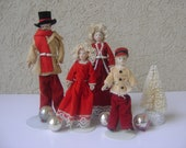 Victorian Christmas Dolls- Dollhouse Family-Mid Century-Christmas Holiday Decor-Collectible Dolls