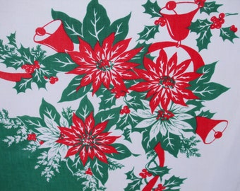 Christmas Tablecloth Bells Holly Poinsettias Ribbon Tablecloth Vintage Christmas Red Green