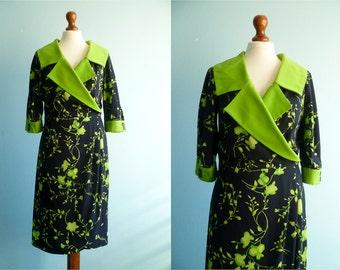 Vintage Black Green Dress / Floral Print / Big Collar / Wrap Skirt / Day dress / Elegant Chic Special Ocassion / Midi Length / medium