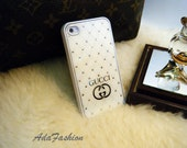Gucci Inspired with Crystal in White - Case for iPhone4 , Case for iPhone4s , iPhone Case , Rhinestone