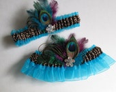 PEACOCK WEDDING Garter Set, Turquoise Garters w/ Crystals, Leopard Garter, Cheetah Print, Something Blue