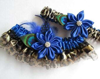 Royal Blue Wedding Garter Set, Peacock Garters, Sapphire Blue Garters, Leopard Garters, Something Blue Garter