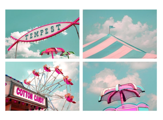40% Off, carnival photographs, fair, mint, pink, fun, girls, boys,cottage decor, kid's wall art, sophisticated nursery, home, Set of 4 8x10