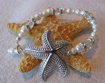 Star Fish with  Faux White Pearl Bracelet Bridal wedding party Beach Theme Jewelry