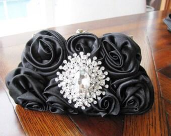 wedding clutch, bridal clutch, wedding purse, bridal purse, satin bridal clutch,  bridal accessories, rhinesBlack Fabric Wedding