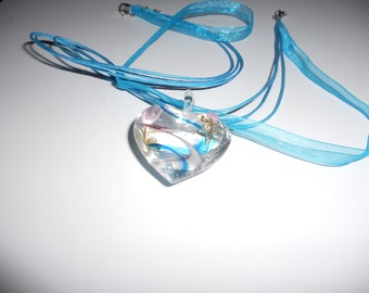 Lampwork glass heart necklace on voile corded adjustable necklace