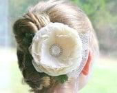 Ivory Bridal Hair Flower, Feather Flower, Fascinator, Bridal Hair Accessory, Wedding Headpiece, Pearl Hair Flower